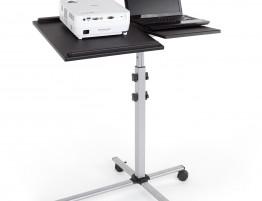 Stolik projekcyjny Duo (ST011). Mobilna baza (na kółkach z blokadami). Konstrukcja z profili stalowych, lakierowana w kolorze stalowoszarym. Dwa blaty z czarnego PCV,  niezależnie ustawiane na wysokość 77 lub 87 cm. Pulpit pod projektor z listwami antyseślizgowymi, z regulacją kąta nachylenia ±35°.