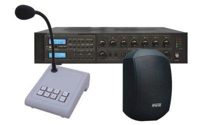 Radiowęzłowy zestaw nagłośnieniowy Biamp składający się z 6 stref